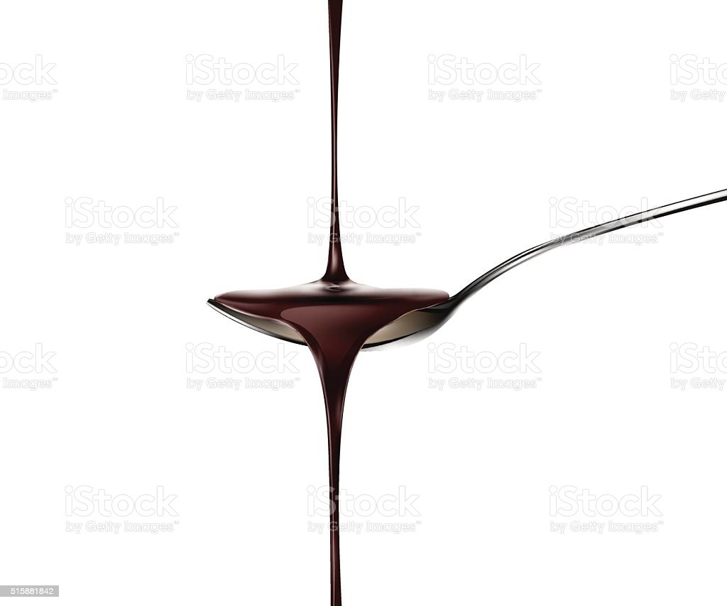 chocolate dripping from spoon vector art illustration