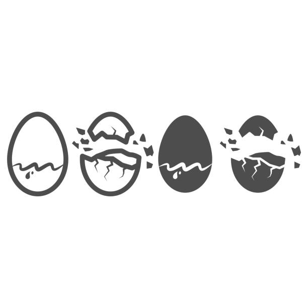 Chocolate egg line and solid icon, Chocolate festival concept, sweet tasty eggshell sign on white background, Broken and cracked chocolate egg icon in outline style for mobile, web. Vector graphics. Chocolate egg line and solid icon, Chocolate festival concept, sweet tasty eggshell sign on white background, Broken and cracked chocolate egg icon in outline style for mobile, web. Vector graphics holiday and seasonal icons stock illustrations