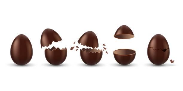 초콜릿 달걀 세트 - 부활절 달걀 stock illustrations