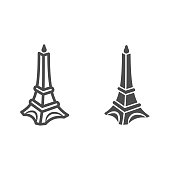 Chocolate Eiffel Tower line and solid icon, Chocolate festival concept, Chocolate monument sign on white background, sweet Eiffel tower candy icon in outline style for mobile and web. Vector graphics
