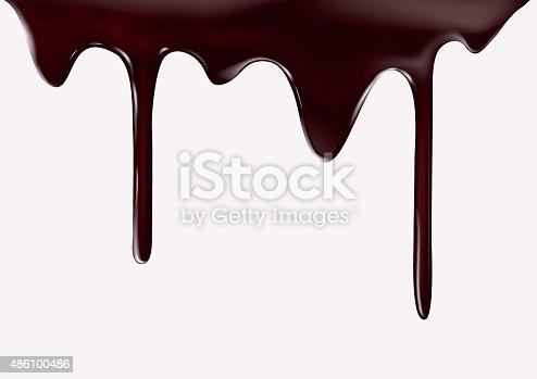 istock Chocolate flow on white background 486100486