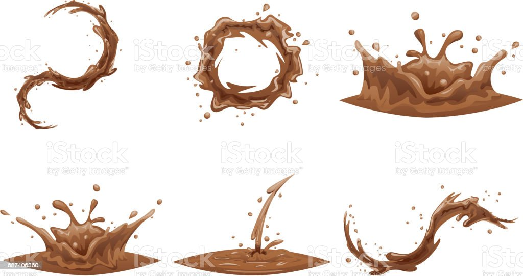 Chocolate Flowing Splash Drop Wave Whirlpool Vortex Cartoon Icon Set Isolated Design Vector Illustration vector art illustration
