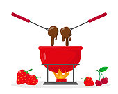 Chocolate fondue in ceramic bowl with fire and berries near it. Vector illustration on white background.
