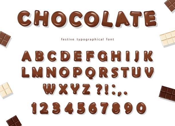 schokolade schriftgestaltung. süße glänzend abc buchstaben und zahlen. - schokolade stock-grafiken, -clipart, -cartoons und -symbole