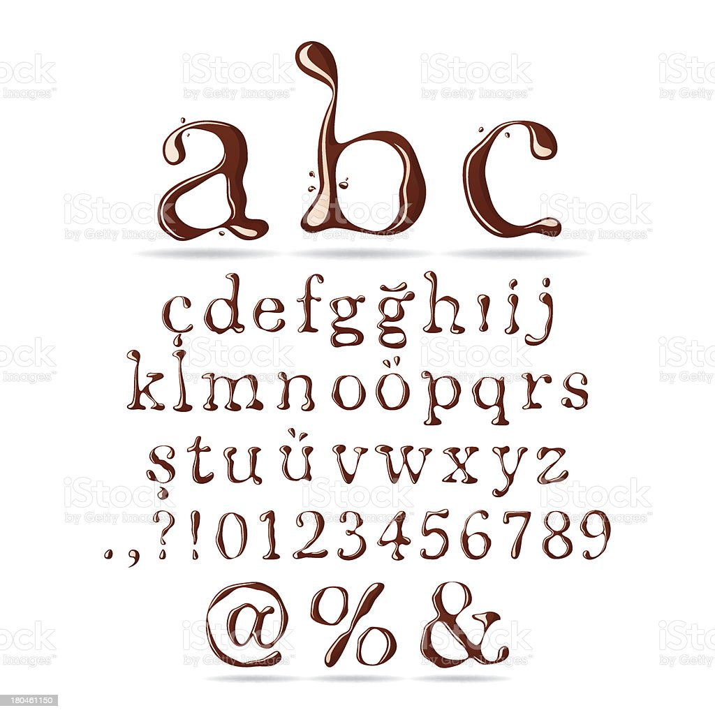 Chocolate Font Lower Case royalty-free stock vector art