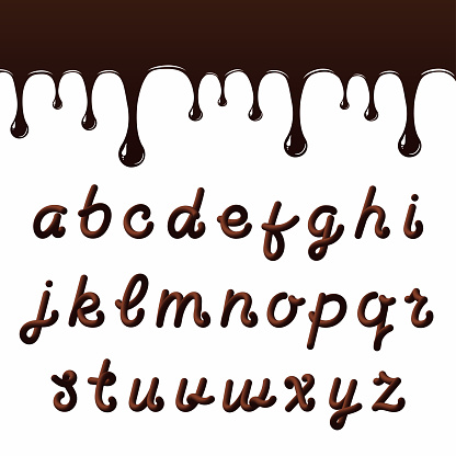 Chocolate Font With Latin Letters Melted Chocolate Alphabet