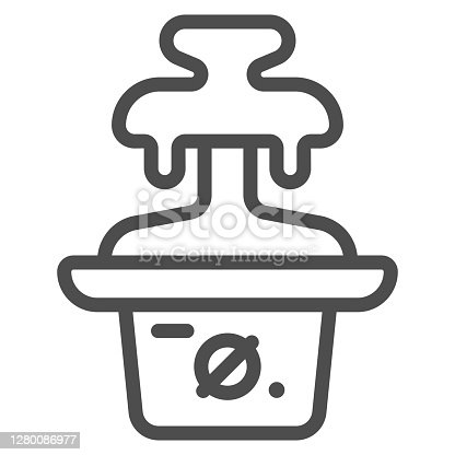 istock Chocolate fountain line icon, Chocolate festival concept, Fondue sign on white background, chocolate dessert machine icon in outline style for mobile concept and web design. Vector graphics. 1280086977