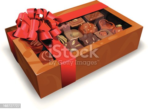 Box of assorted chocolates wrapped in ribbon. Vector file contains a gradient mesh.