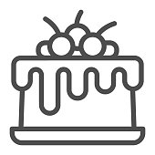 Chocolate glazed cherry cake line icon, Birthday cupcake concept, Cake with cherries sign on white background, delicious birthday dessert with berries icon in outline style. Vector graphics