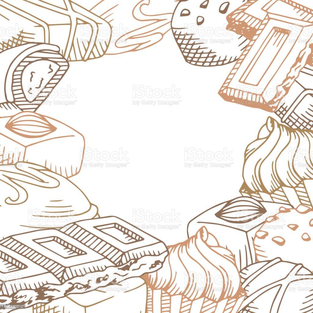 Шоколад графический коричневый цвет шаблон фоновый эскиз иллюстрации вектор - Векторная графика Бежевый роялти-фри