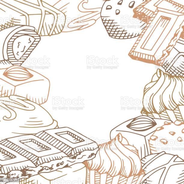 Шоколад Графический Коричневый Цвет Шаблон Фоновый Эскиз Иллюстрации Вектор — стоковая векторная графика и другие изображения на тему Бежевый
