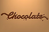 Chocolate hand drawn text isolated on dark creamy background. Vector design element for advertising, packaging, poster, menu. Eps 10.