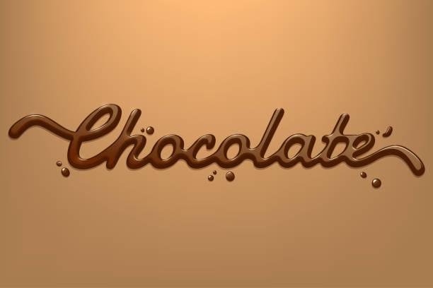 schokolade handgezeichnete text auf dunklem hintergrund cremig isoliert. vektor-design-element für werbung, verpackung, plakat, menü. eps-10. - vanillesauce stock-grafiken, -clipart, -cartoons und -symbole