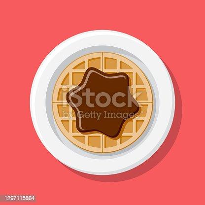 istock Chocolate Hazelnut Spread Waffle Overhead Icon 1297115864