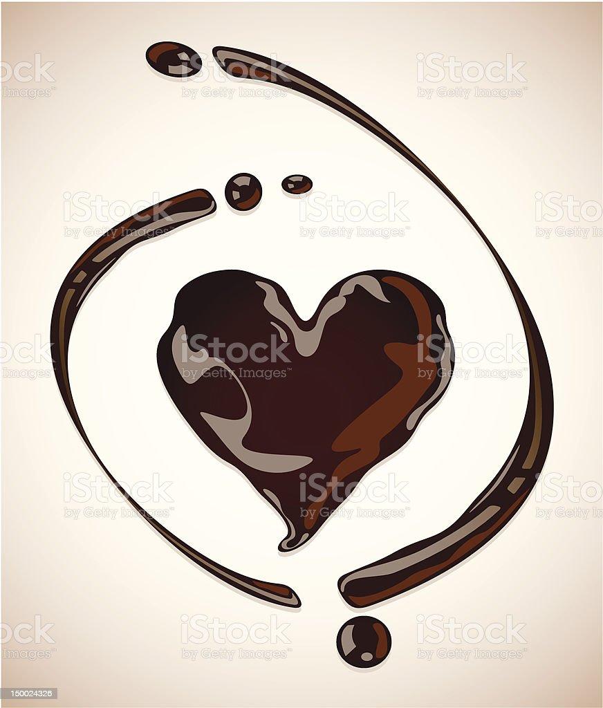 Chocolate heart vector art illustration