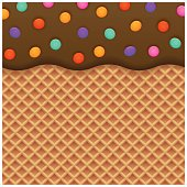 Chocolate ice cream with wafer background suitable for poster or packaging design. Wafer and ice cream are grouped in different background.