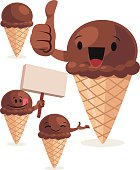 Cartoon chocolate ice cream set including: