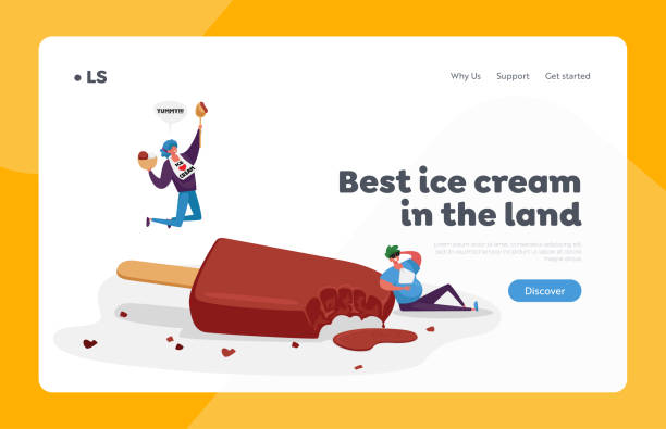 Chocolate Ice Cream Sweet Dessert Landing Page Template. Tiny Happy Characters Eating Huge Ice Cream Popsicle on Stick Chocolate Ice Cream Sweet Dessert Landing Page Template. Tiny Happy Characters Eating Huge Ice Cream Popsicle on Wooden Stick and Icecream Scoop Balls in Bowl. Cartoon People Vector Illustration bowl of ice cream stock illustrations