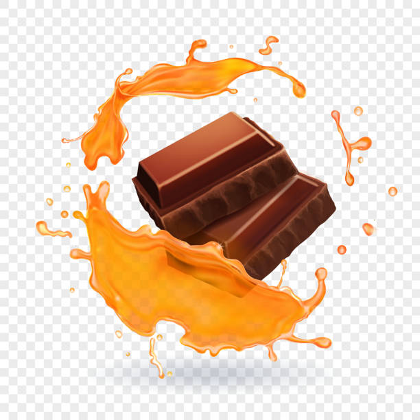 Chocolate in caramel or honey splash Realistic vector illustration. Chocolate in caramel or honey splash Realistic vector illustration. caramel stock illustrations