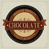 Vintage Chocolate Label. Grunge style.