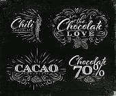 Chocolate labels collection in vintage style lettering chocolate love, chili, cacao, 70 drawing on black watercolor background