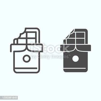 Chocolate line and solid icon. Block of chocolate vector illustration isolated on white. Opened chocolate bar outline style design, designed for web and app. Eps 10