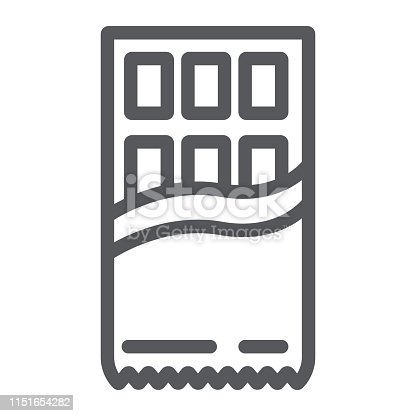 Chocolate line icon, food and sweet, wrapped chocolate sign, vector graphics, a linear pattern on a white background, eps 10.