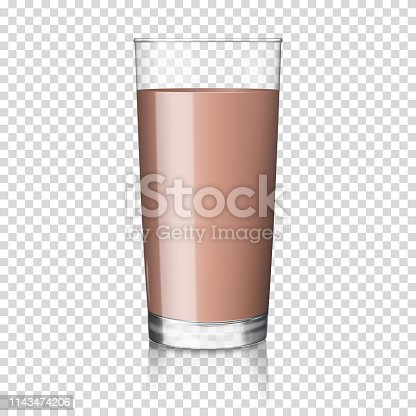 Chocolate milk, cocoa in a glass, isolated.
