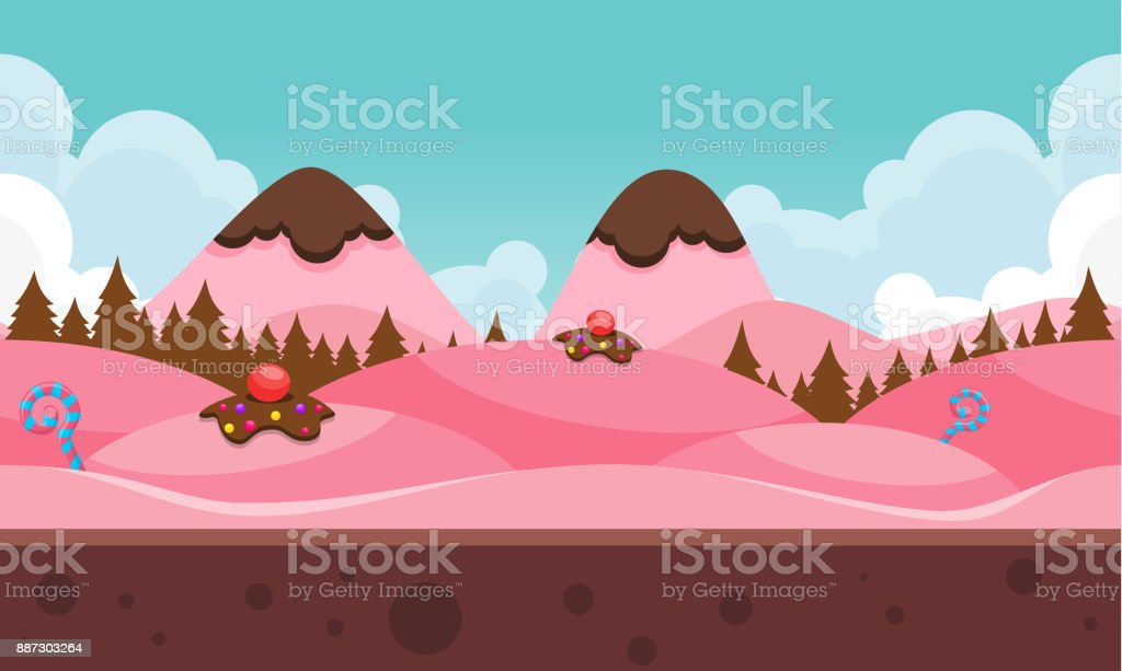 Chocolate Mountain Game Background vector art illustration