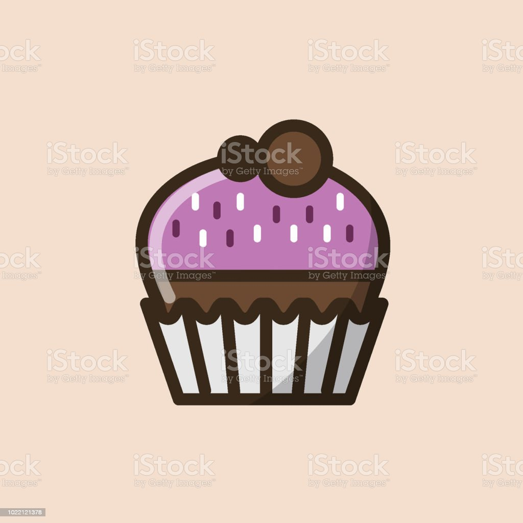 Chocolate muffin or cupcake with pink cream and edible confetti in paper mold vector art illustration