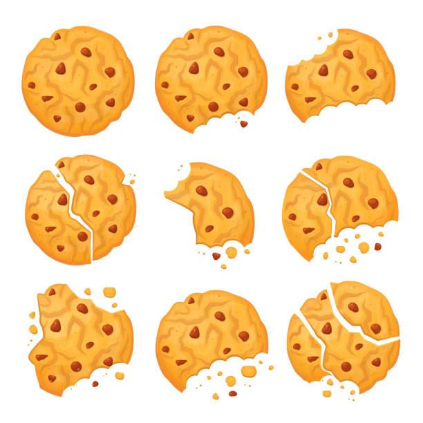 illustrazioni stock, clip art, cartoni animati e icone di tendenza di chocolate oatmeal cookie - briciola