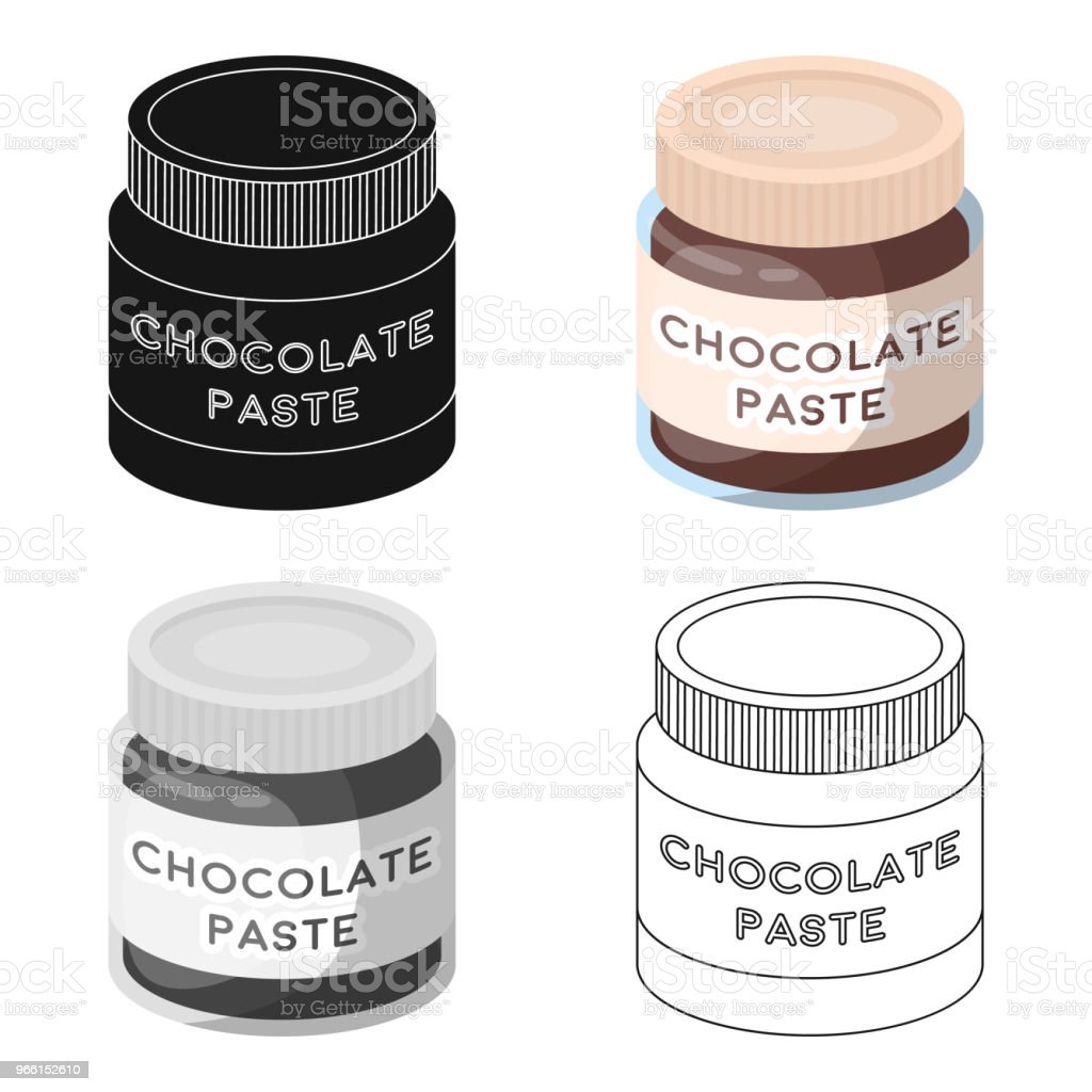 Chocolate paste icon in cartoon style isolated on white background. Chocolate desserts symbol stock vector web  illustration. - Векторная графика Абстрактный роялти-фри