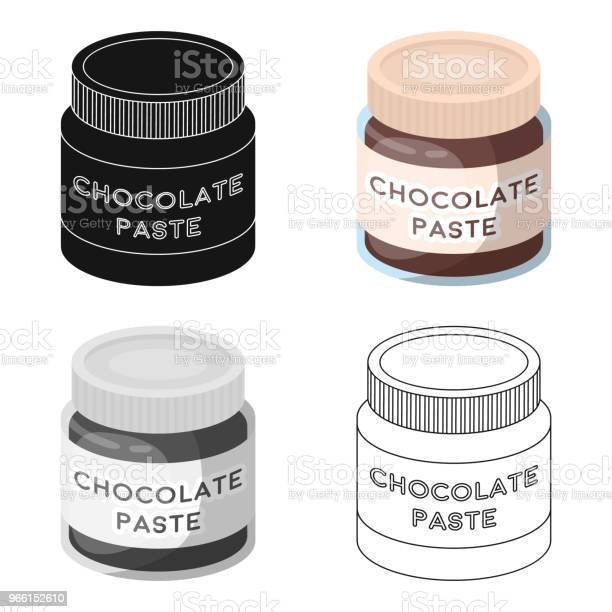 Chocolate Paste Icon In Cartoon Style Isolated On White Background Chocolate Desserts Symbol Stock Vector Web Illustration — стоковая векторная графика и другие изображения на тему Абстрактный