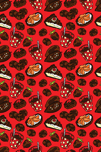Chocolate pattern. Seamless vector pattern (background).