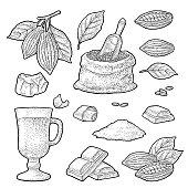Chocolate piece, bar, shave. Fruits of cocoa with leaves and beans. Vector vintage black engraving illustration. Isolated on white background. Hand drawn design element for label and poster