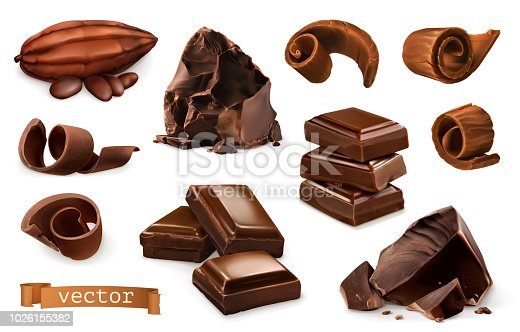Chocolate. Pieces, shavings, cocoa fruit. 3d realistic vector icon set