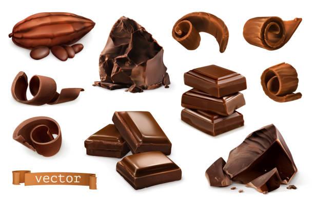 schokolade. stücke, späne, kakaofrucht. 3d realistische vektor icon-set - schokolade stock-grafiken, -clipart, -cartoons und -symbole