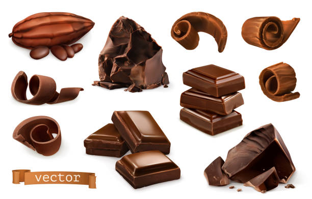 chocolate. pieces, shavings, cocoa fruit. 3d realistic vector icon set - chocolate stock illustrations