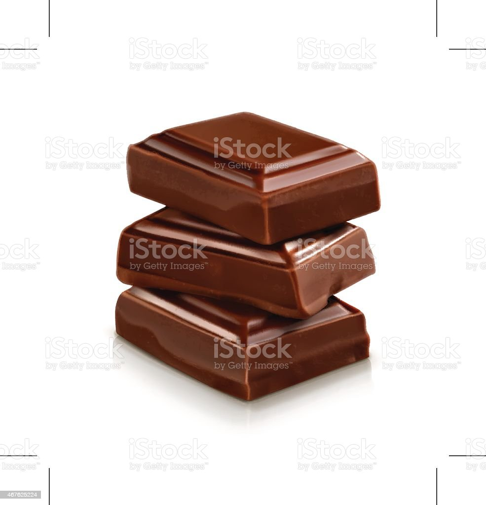 Chocolate pieces, vector illustration vector art illustration