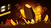 Chocolate popsicle, bar pieces and mango slice falling into liquid crown splash realistic vector illustration. Mock up wrapper or ad banner for chocolate fruit flavor icecream