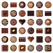 Chocolate pralines candies icon collection - vector color illustration