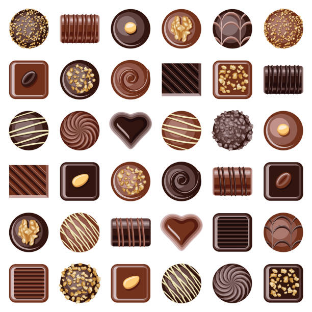 chocolate pralines - chocolate stock illustrations