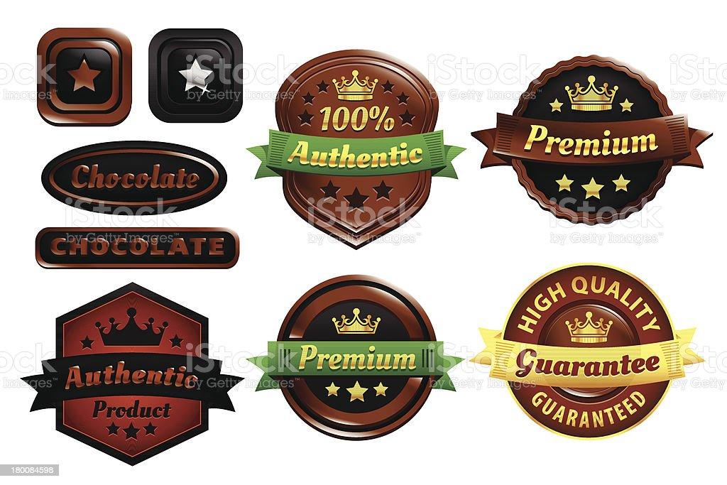 Chocolate Premium Authentic Badges vector art illustration