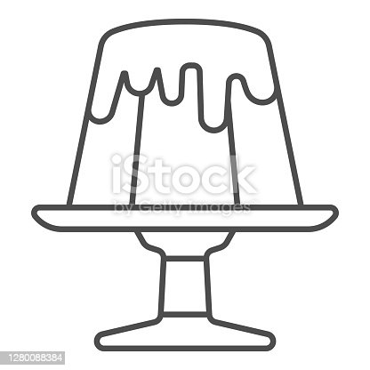 istock Chocolate pudding thin line icon, Chocolate festival concept, Birthday cake sign on white background, pudding dessert icon in outline style for mobile concept and web design. Vector graphics. 1280088384