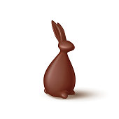 Chocolate rabbit isolated on white background. Realistic chocolate bunny. Vector illustration with 3d decorative bunny for Easter design.
