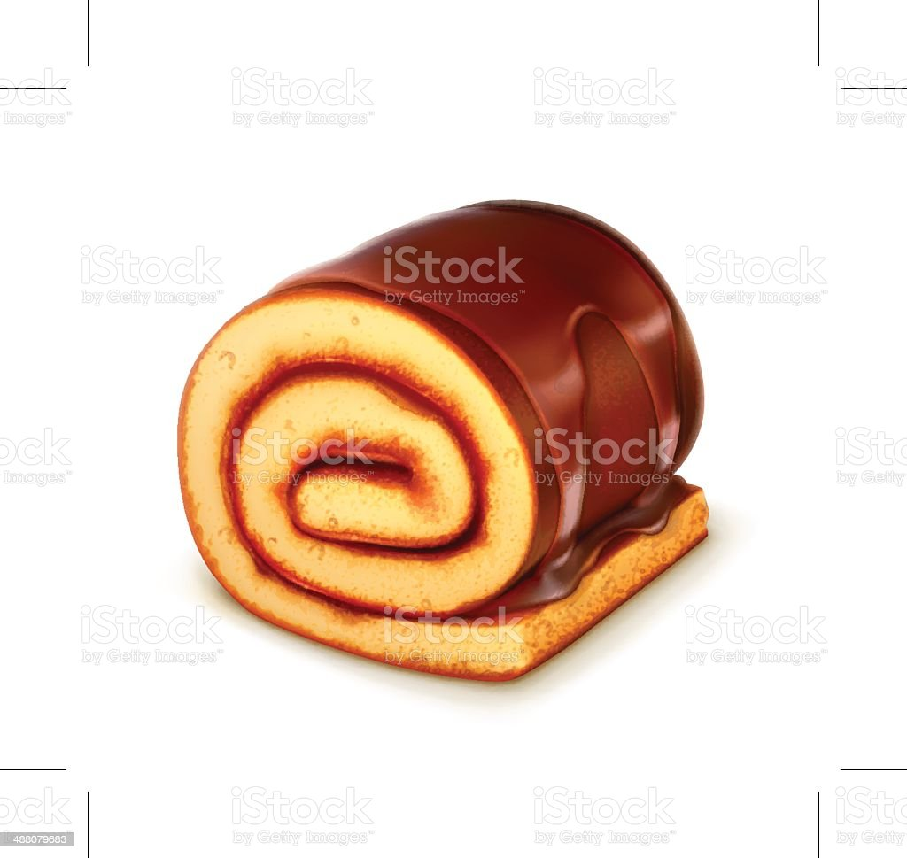 Chocolate roll cake royalty-free stock vector art