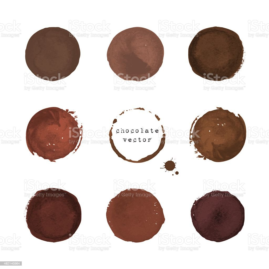 Chocolate round stains and blots vector art illustration