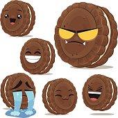 Cartoon chocolate sandwich cookie set including: