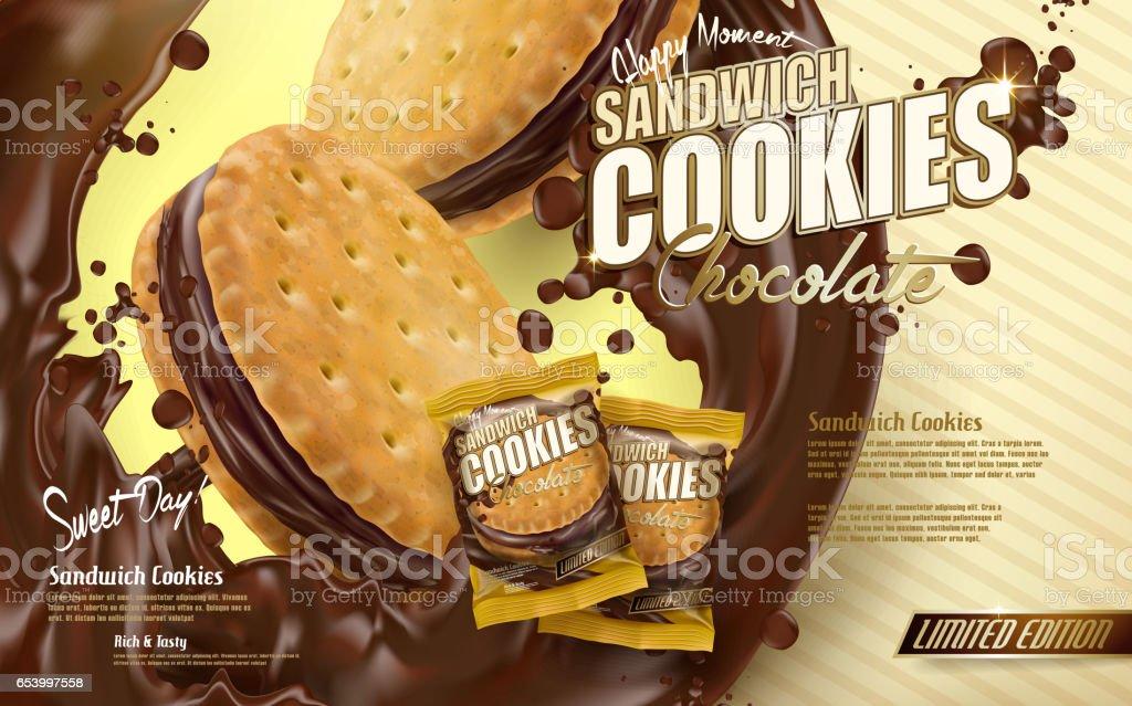 chocolate sandwich cookies vector art illustration