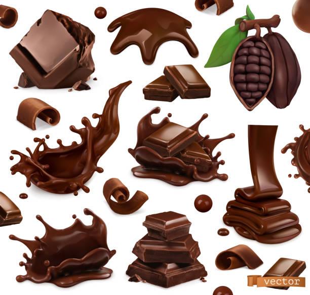 schokolade-set. spritzer, stücke und schokoladenspäne, kakaobohne. 3d realistische vektorobjekte. lebensmittel-illustration - schokolade stock-grafiken, -clipart, -cartoons und -symbole